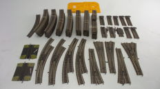 Fleischmann H0 - and others - 6157/6140/6142/6110/6101/6120 - approx. 102 pieces Profi-rails straight, curved and compensation rails and points