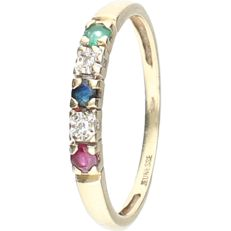 14 kt - Yellow gold ring with emerald, ruby, sapphire and two octagon cut diamonds, approx. 0.02 ct in total, set in a row - Ring size: 17 mm