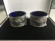 A pair of Edwardian silver salt cellars - John Rose - Birmingham - 1909