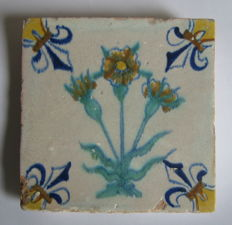 Antique coloured flower tile Gouda