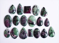 Ruby Zoisite Gemstone lot 503 ct - 18 pcs