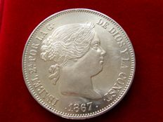 Spain - Isabel II (1833-1868), 2 silver escudos (26 g, 37 mm). Madrid, 1867 Very scarce.