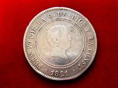 Spain - Ferdinand VII (1813-1833), 10 reales silver coin - Resealed - 1821 - SR - Madrid