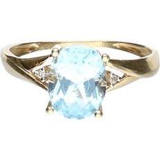 18 kt - Yellow gold ring set with a cabochon cut aquamarine - ring size: 17.25 mm