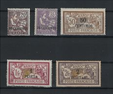 Former French Colonies, Morocco 1902/1903 - Selection of stamps signed Calves - Yvert no. 13, 15/17, and 24