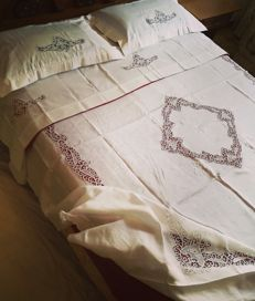 Matching linen and Burano lace bedspread and sheets - Venice. New