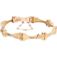 """14 kt - Yellow gold link bracelet """"Mukka"""" by the brand LAPPONIA with a box clasp and safety eight and safety chain - Length: 17.5 cm"""