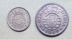 Portuguese India/Republic -- 2 coins -- 10 Centavos, 1961 & 1 Tanga, 1947 . Above Average