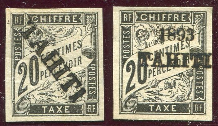 Tahiti 1893 - Postage due stamp - Yvert no. 8, 21