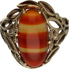 14 kt - Yellow gold openwork ring set with agate - Ring size: 16.75 mm