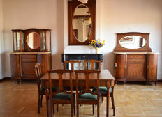 Extensive 10-piece (!) walnut dining room furniture with fruit wooden edgings - early 20th century