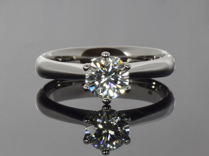 14 kt White Gold Ring with created Moissanite – Size 54.5 (ø 17.3 mm)