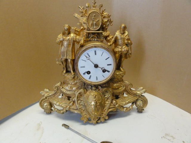 French, romantic pendulum clock with double statue - period 1880
