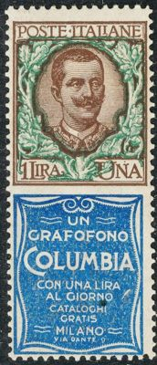 Kingdom of Italy 1924 - Advertising tab with 1 lira 'Columbia' appendix - Sassone  no. 19