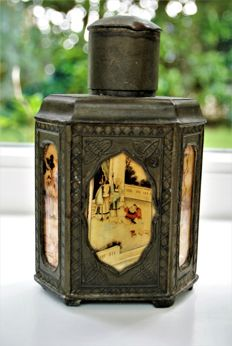 Antique Swatow Pewter Tea Caddy Marked - China - ca 1920