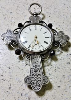 Anonimous - Pocket crucifix timepiece - Victorian style silver - Unisex - 1850 - 1900