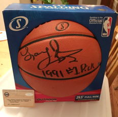 Larry Johnson Autographed Spalding Basketball Signed with COA Auto Hornets with original Steiner Certificate of Authenticity NBA HOF. No Reserve Price