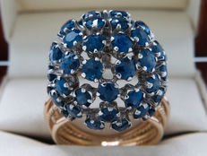 Certified gold cocktail design ring with sapphire - 1.75 ct - **No reserve**