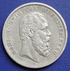 Empire, Württemberg - 5 marks 1874 F - Silver