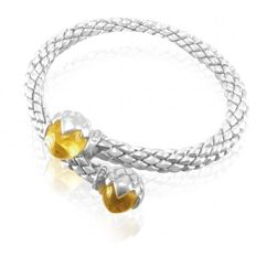 "Chimento - ""Stretch"" silver stretch bracelet with Citrine - wrist size 17 cm"
