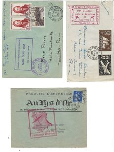 France 1929/1958 - Selection of four 1st airflights and 1st air junction