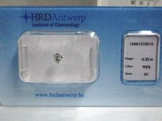 1 HRD-certified diamond - Cushion - 0.22 ct - SI1/H