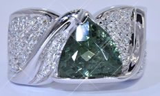 5.94 Ct Green trillion Tourmaline with Diamonds ring - NO reserve price!