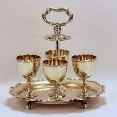 Antique Solid Silver Egg Cruet Set - Atkin Brothers - Sheffield - 1913
