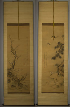 Scroll set cranes/turtles hand-painted in original chest - Japan - late 19th century