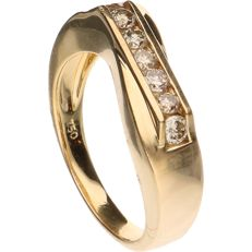 18 kt - Yellow gold ring band set with seven brilliant cut diamonds, approx. 0.35 ct in total, in a channel setting - Ring size: 17.75 mm