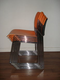 David Rowland for Howe - set of 7 very original metal chairs, model 40/4