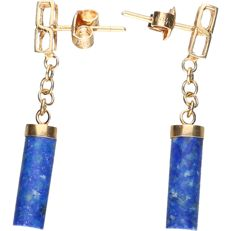 14 kt - Yellow gold earrings set with lapis lazuli - length: 3.5 cm