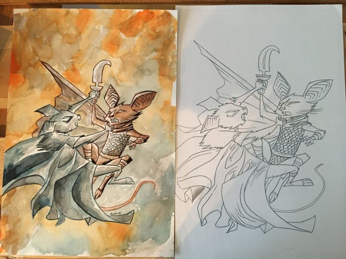 Original Art Page By Michael Avon Oeming - Image Comics - The Mice Templar v. 5 : Night's End #4 - Covers Set - Signed - (1997)