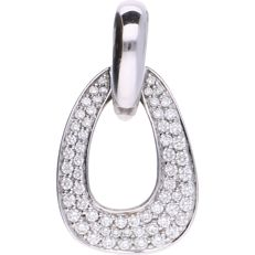 14 kt - White gold pendant set with 63 brilliant cut diamonds of approx. 0.005 ct up to 0.02 ct. In total the pendant contains 0.70 ct - Length: 30 mm x Width: 16 mm