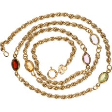 14 kt Yellow gold twisted rope link necklace set with various precious stones including: garnet, peridot, amethyst - Length: 42 cm