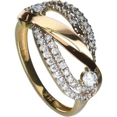 21 kt - Yellow gold ring set with zirconia stones - Ring size: 18 mm