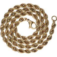 14 kt Yellow gold twisted rope link necklace - Length: 47 cm