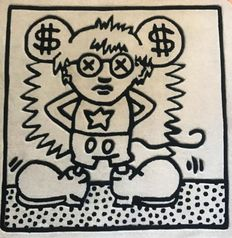Keith Haring (after) - Andy Mouse (Black & White) Rug