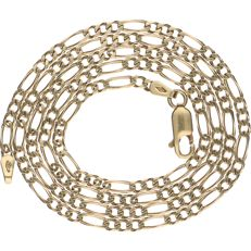 14 kt Yellow gold, Figaro link necklace - Length: 53 cm.