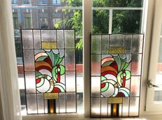 Two wonderful old Art Deco stained glass and mosaic sun-catchers vaulted and with soft colours - from around 1920