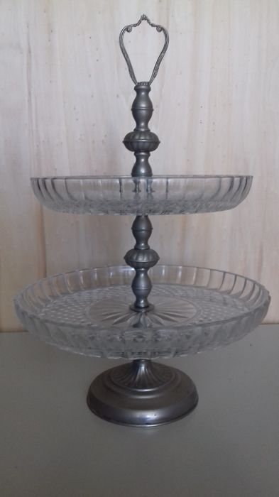 Antique fruit plate made of cut crystal and silver metal