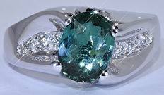 2.52 Ct Green Tourmaline with Diamonds, designer ring - NO reserve price!