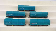 Roco H0 - 46293 - Five sliding roof steel transport wagons 'Shimmns' loaded with steel rolls of the SBB