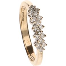 BWG yellow gold ring set with 16 octagonal cut diamonds of approx. 0.01 ct each - ring size: 16.25 mm
