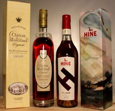2 bottles: 1. Chateau de Montifaud Napoleon (15-18 years old) Cognac, Box, 70cl + 2. H by HINE VSOP Cognac incl. limited original box, 70cl