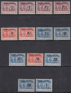 The Netherlands 1907 - Postage due overprints De Ruyter - NVPH P31/43, with certificate
