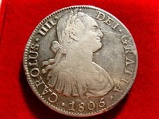 Spain – Carlos IV (1788 – 1808) – 8 silver reales coin – Year 1805 – Mexico TH