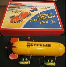 Tucher & Walther/Schuco, (West) Germany - Length 14-30 cm - Tin Zeppelin and Montage Grand Prix Racer 1075 replica with clockwork motor, 1990s/2000