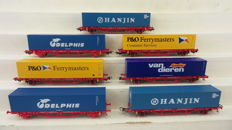 Piko H0 - 95614/95656/95648/95649/95613 - set of 7 container wagons with container of the NS