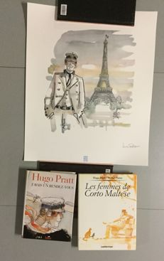 "Corto Maltese - Illustration on art paper ""Corto à Paris"" + 2 monographs - 2xC - First Print - 1994/95"